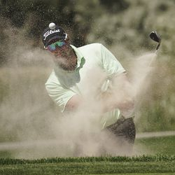 Dawie van der Walt hits out of the sand during the second round of the Utah Championship at Oakridge Country Club in Farmington on Friday, June 26, 2020.
