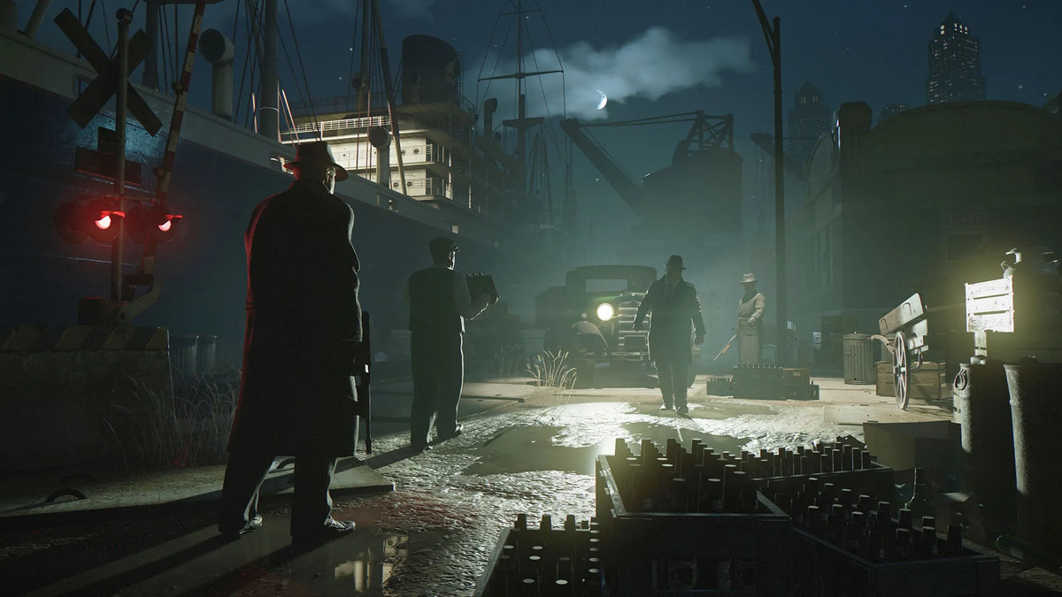 Characters seem ready to make a deal in a dark shipyard