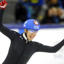 Lana Gehring (2) celebrates following the women's 1000-meter A final race during the U.S.Olympic short track speedskating trials Sunday, Dec. 17, 2017, in Kearns, Utah. (AP Photo/Rick Bowmer)