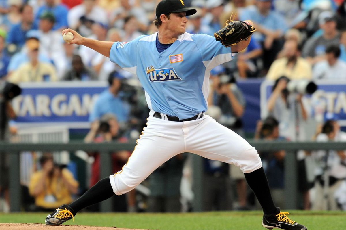 July 8, 2012; Kansas City, MO, USA; USA pitcher Gerrit Cole delivers a pitch during the second inning of the 2012 All Star Futures Game at Kauffman Stadium.  Mandatory Credit: Denny Medley-US PRESSWIRE