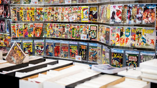 Various comic books for sale at The Birmingham Film and Comic Con, Collectormaina 24 at NEC Arena on June 4, 2017 in Birmingham, England.