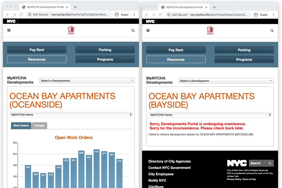 Screenshots taken on Jan. 31 show work order information available for the Oceanside development of Ocean Bay Apartments, but not Bayside.