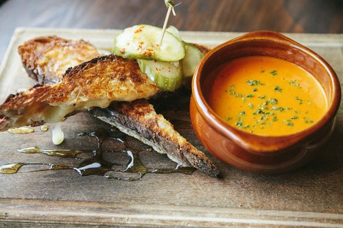 Grilled cheese and tomato soup at foundry on elm