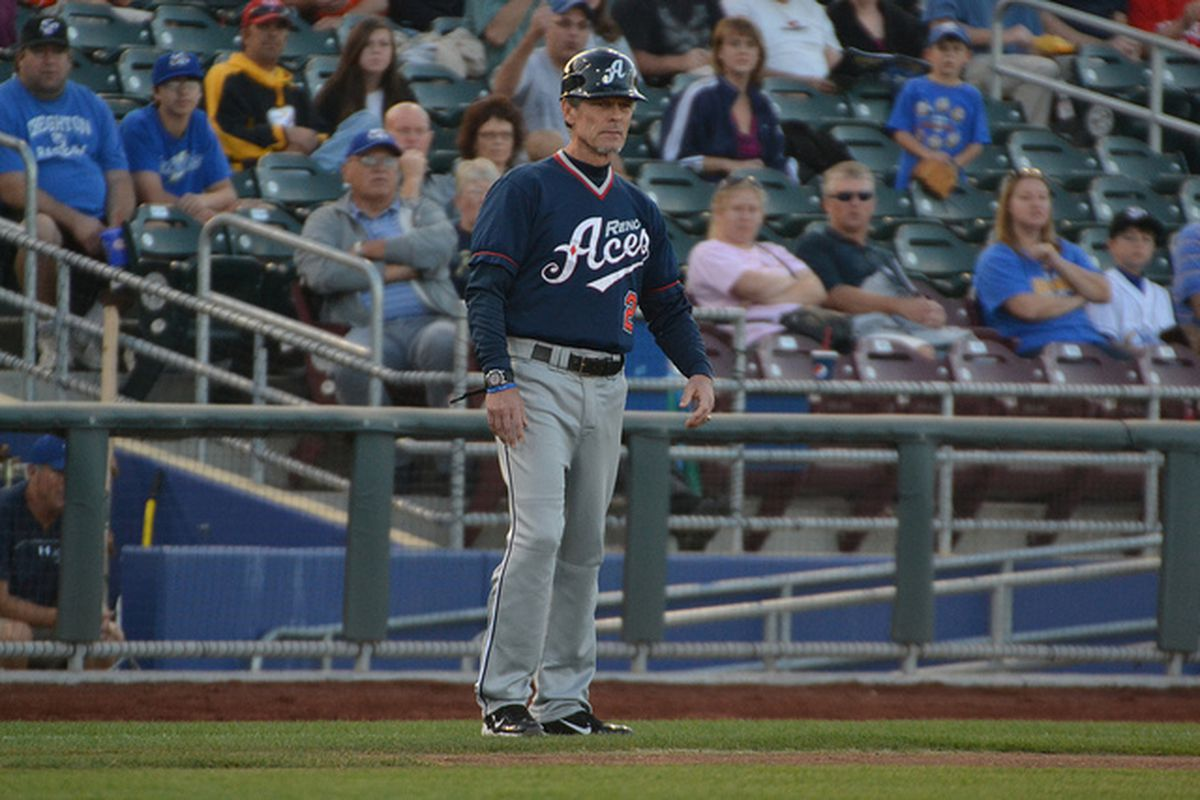 Brett Butler, managing the Reno Aces during the 2012 PCL Championship Series