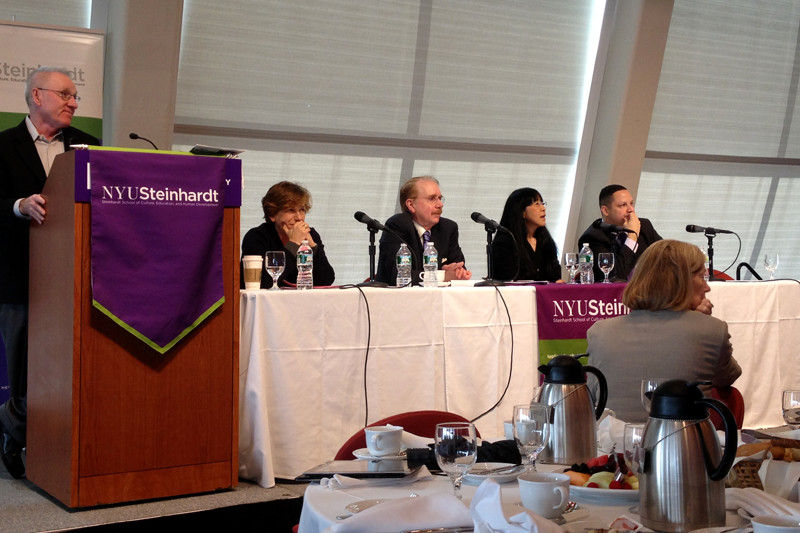 Joseph McDonald, a professor at NYU Steinhardt, (pictured far left) moderated Friday morning's NYU Steinhardt Education Policy Breakfast Series Common Core discussion. From left to right: Randi Weingarten (American Federation of Teachers president); James Cibulka (president, National Council for Accreditation of Teaching Education); Okhee Lee (NYU Steinhardt professor) and Ramon Gonzalez (M.S. 223 principal).
