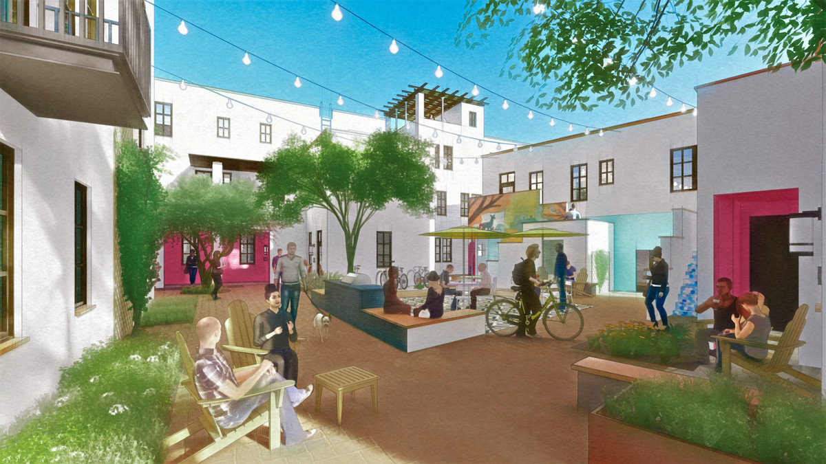 Rendering of a courtyard with seating and trees.