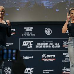 Valentina Shevchenko and Joanna Jedrzejczyk pose at UFC 231 presser.