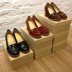 Croc-embossed moccasin heels, $129 (originally $430) and suede moccasin heels, $124.50 (originally $415)