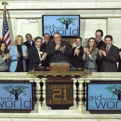 In this Jan. 21, 2009 photo provided by the New York Stock Exchange, the Rev. Carl Keyes, founder of Aid for the World, rings the opening bell at the New York Stock Exchange. Keyes ran Aid for the World, which boasted of operating anti-poverty programs in the U.S. and on several continents, for more than three years without disclosing its finances as required.