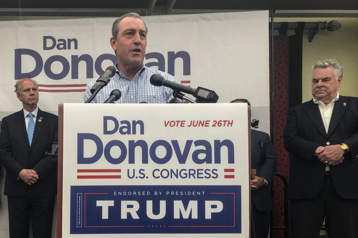 Former Staten Island Congressman Vito Fossella speaks at a June 2018 get out the vote rally in Bloomfield.