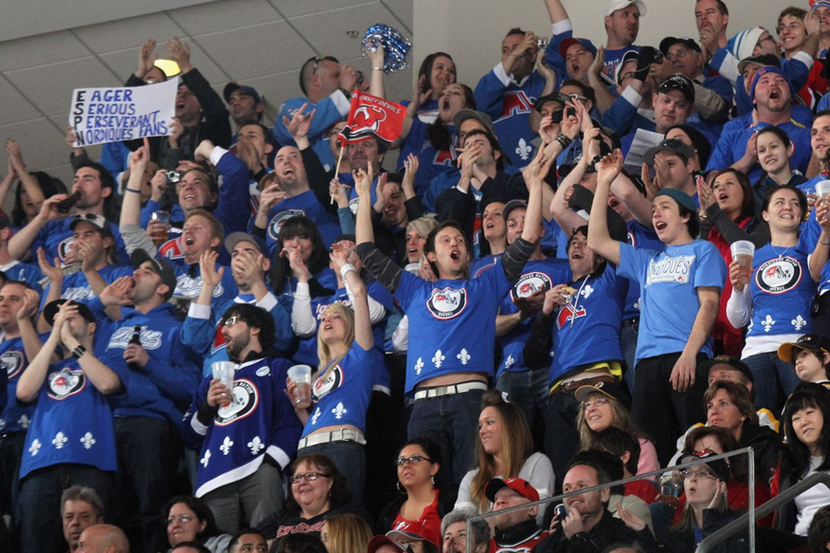 No word on whether or not the Nordiques fans who showed up in big numbers on April 10 inspired the large usage of blue for the upper section on the 2011-12 seating chart.  (Photo by Bruce Bennett/Getty Images)
