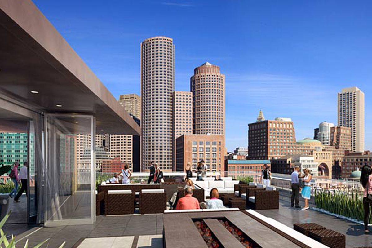 Rendering of The Lookout Rooftop Bar at the Envoy Hotel