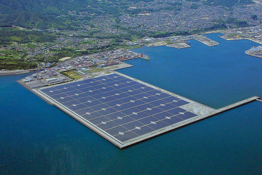 The Kagoshima Nanatsujima Mega Solar Power Plant is built on ... water