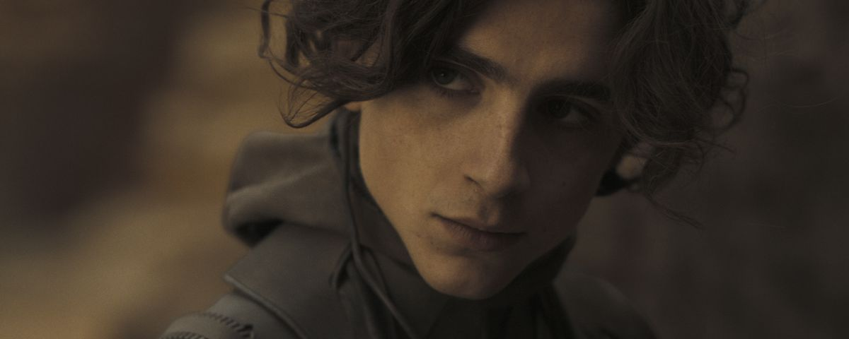 Timothée Chalamet as Paul Atreides, seen in extreme close-up in Dune