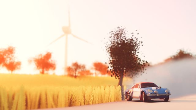 cartoon-styled depiction of a low-slung rally car sliding through a turn, with a tree and a large windmill in the distance, in Art of Rally