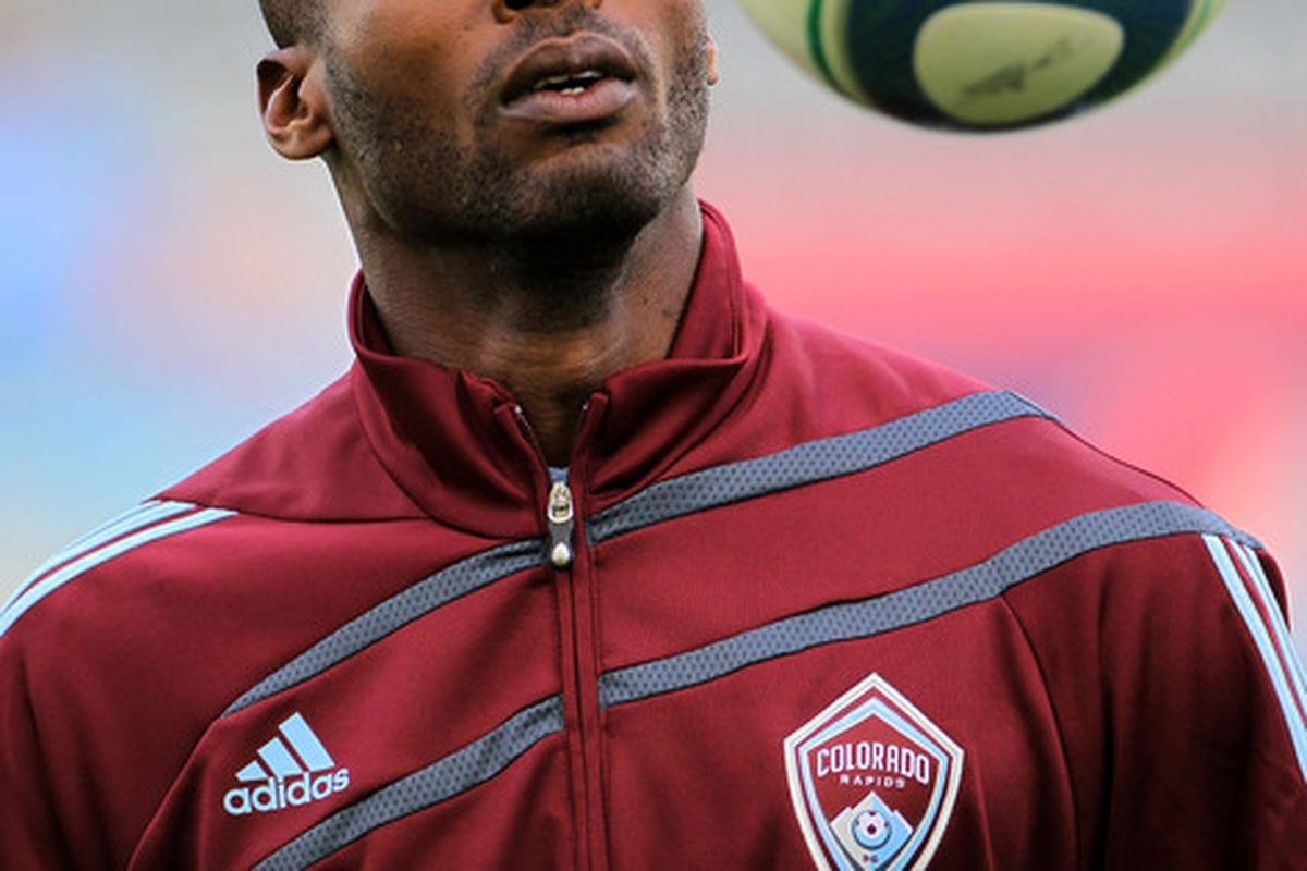 COMMERCE CITY, CO - MAY 05:  Omar Cummings #14 of the Colorado Rapids warms up prior to facing the Los Angeles Galaxy at Dick's Sporting Goods Park on May 5, 2010 in Commerce City, Colorado.  (Photo by Doug Pensinger/Getty Images)