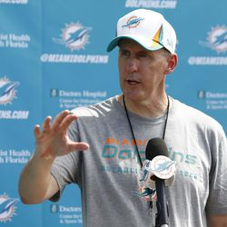 Jul 22, 2013; Davie, FL, USA;  Miami Dolphins head coach Joe Philbin after training camp at the Doctors Hospital Training Facility at Nova Southeastern University.