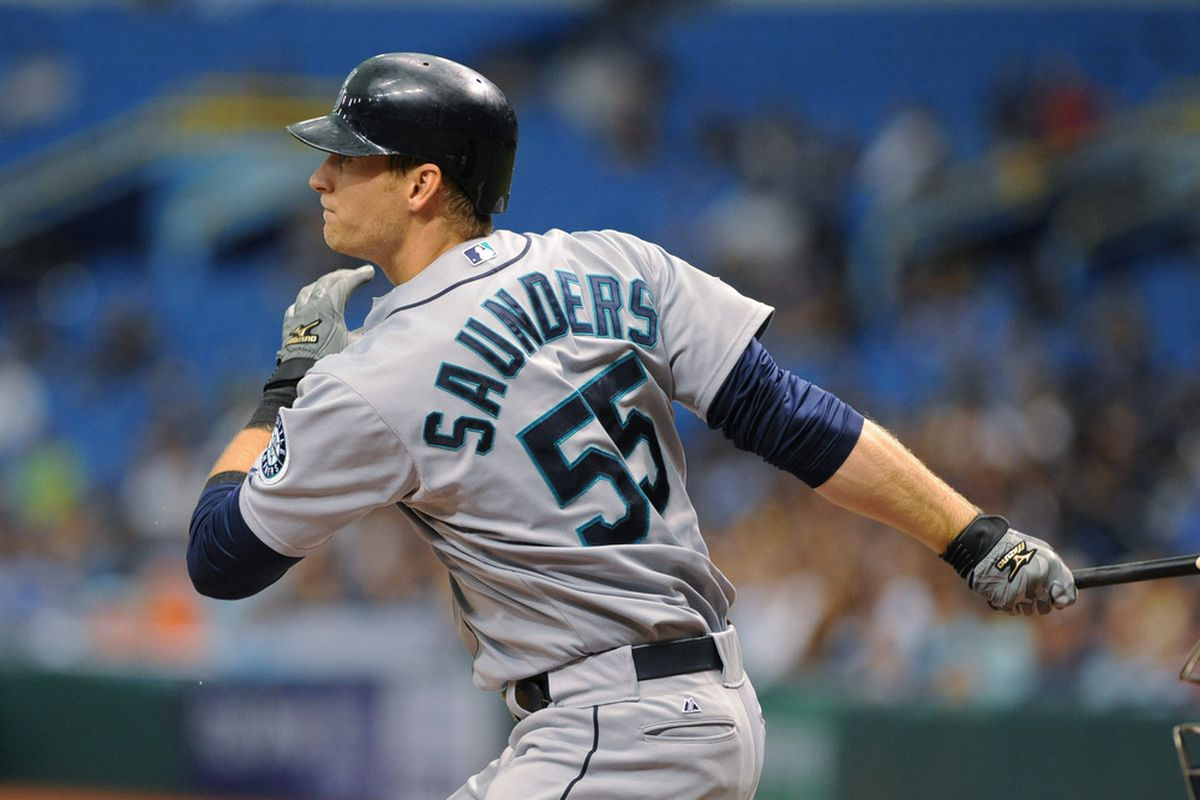 ST. PETERSBURG, FL - MAY 3:  Outfielder Michael Saunders #55 of Seattle Mariners bats against the Tampa Bay Rays May 3, 2012  at Tropicana Field in St. Petersburg, Florida.  (Photo by Al Messerschmidt/Getty Images)