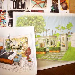 Interior designer Matthew Lanphier's sketches.