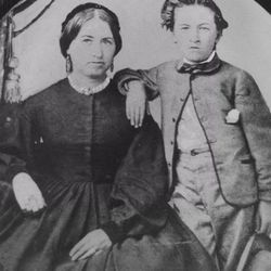 Rachel Grant and her son, future LDS Church President Heber J. Grant. Heber's father died when he was nine days old. His mother's determination and discipline shaped his approach to life.