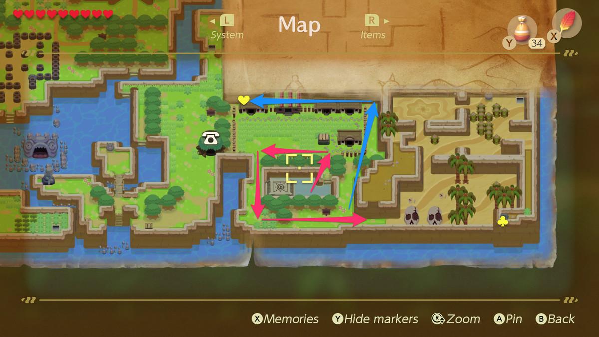 Link's Awakening path to the walrus in Animal Village