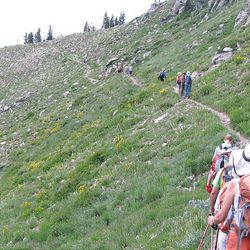 16. Hikers make their way to the top of Twin Lakes Pass.