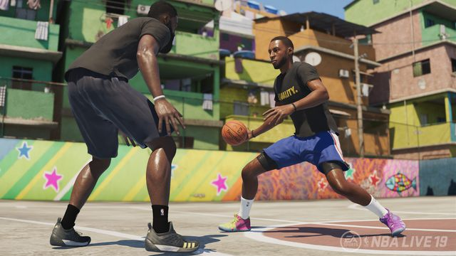 two men play basketball on a street court in NBA Live 19