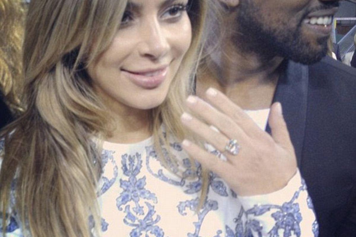 "Photo via Daily Mail/<a href=""http://www.dailymail.co.uk/tvshowbiz/article-2471308/Kim-Kardashian-Kanye-West-engaged-rapper-proposes-birthday.html"">Instagram</a>"