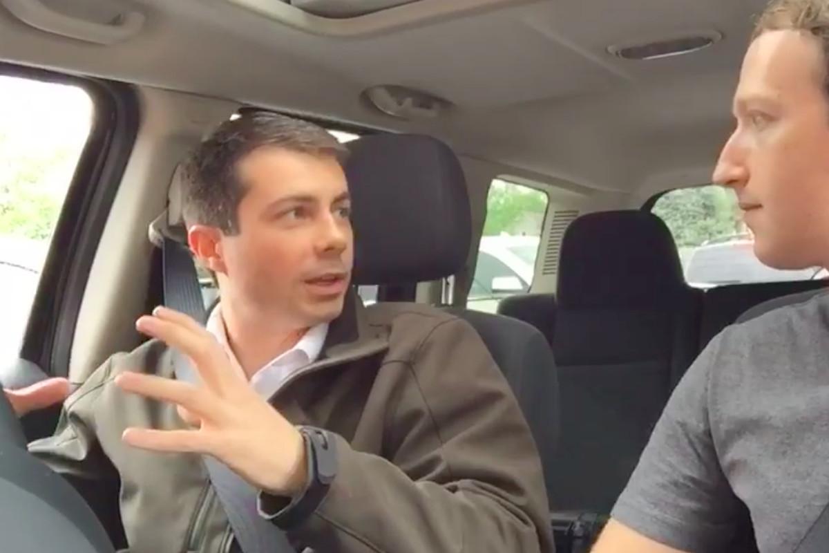 Pete Buttigieg and Mark Zuckerberg talking in car.