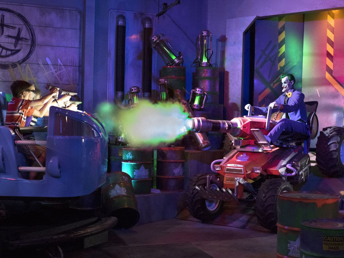 The Joker makes an appearance in another attraction that has proven to be wildly popular, Justice League: Battle for Metropolis. The interactive dark ride includes vehicles that move in sync with 3-D media projected throughout the show building, animatron