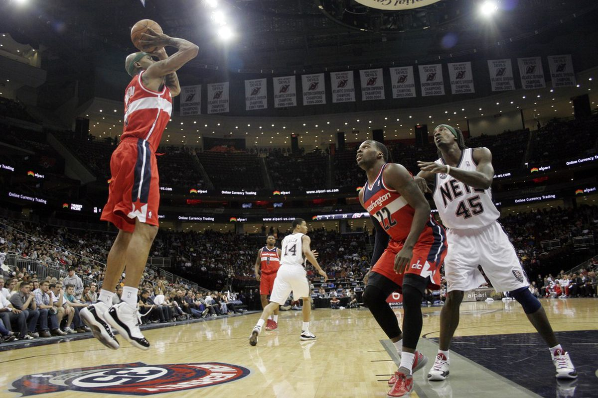 Apr 6, 2012; Newark, NJ, USA; Washington Wizards forward James Singleton (3) takes a shot against the New Jersey Nets during the first half at  the Prudential Center.  Mandatory Credit: Joe Camporeale-US PRESSWIRE