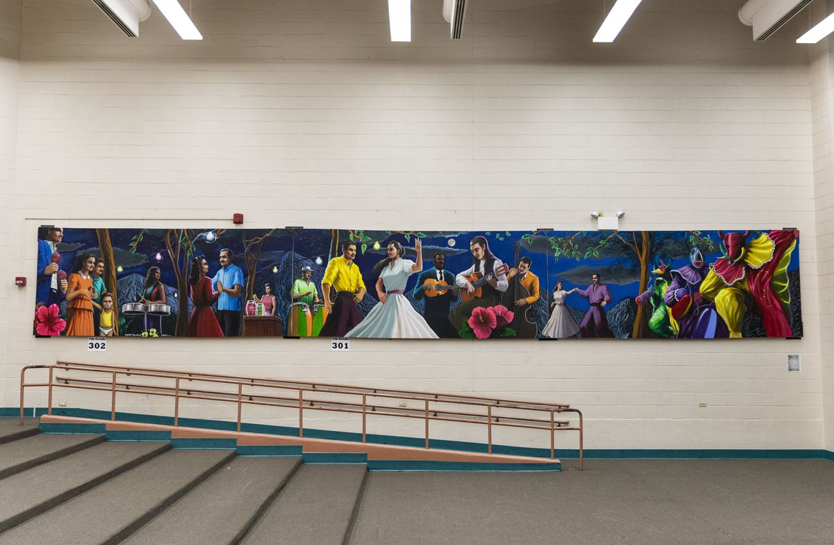 A mural in the auditorium at McAuliffe Elementary School, 1841 N. Springfield Ave.