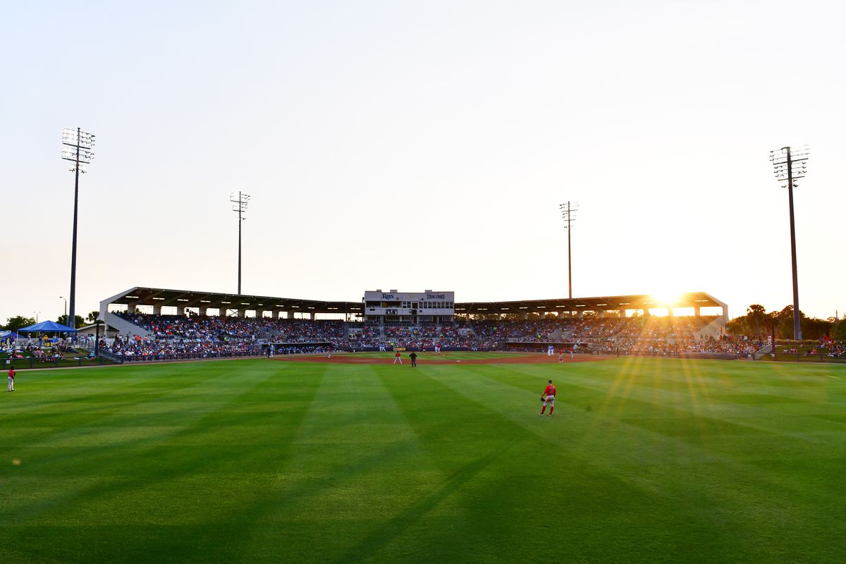 A general view of Charlotte Sports Park from the outfield of a Grapefruit League spring training game between the Tampa Bay Rays and the Boston Red Sox on March 11, 2020 in Port Charlotte, Florida.