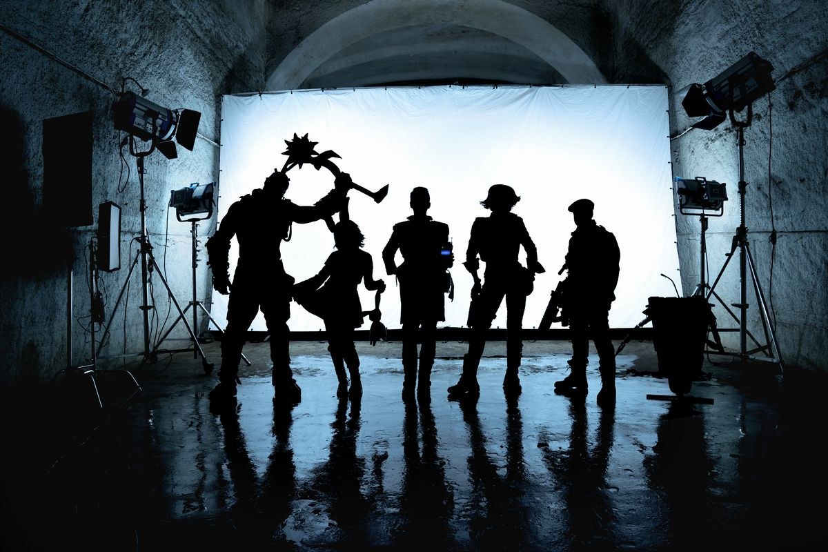 The main cast of the Borderlands movie in silhouette