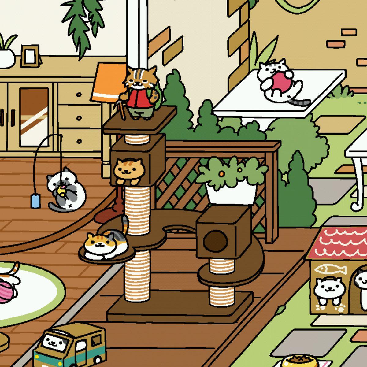 Neko Atsume screenshot of cats playing in a garden.