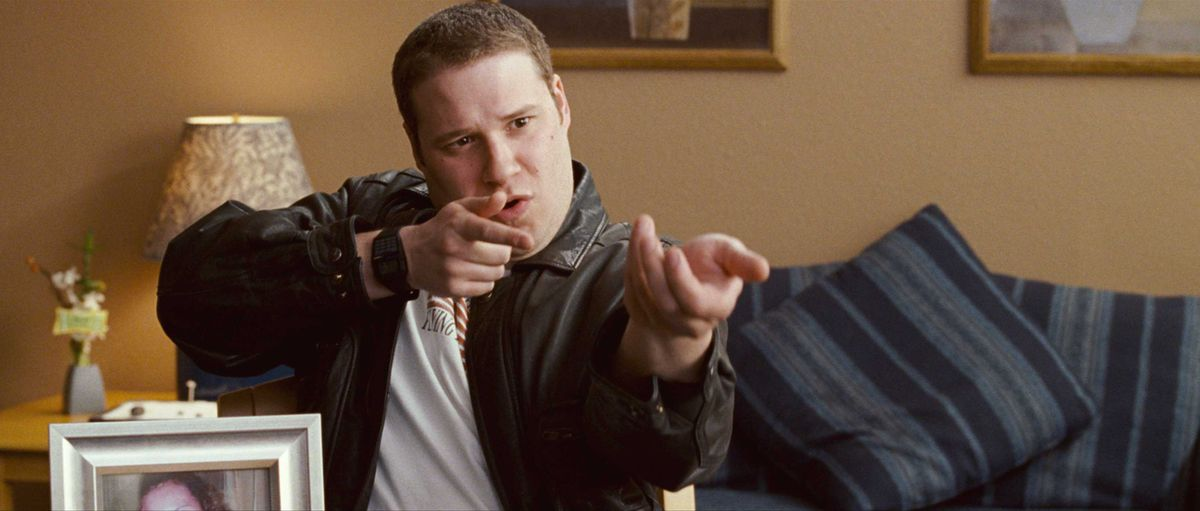 Seth Rogen fires an imaginary rifle in Observe and Report
