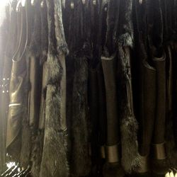 The sample sale had a large assortment of fur and leather vests ($200).