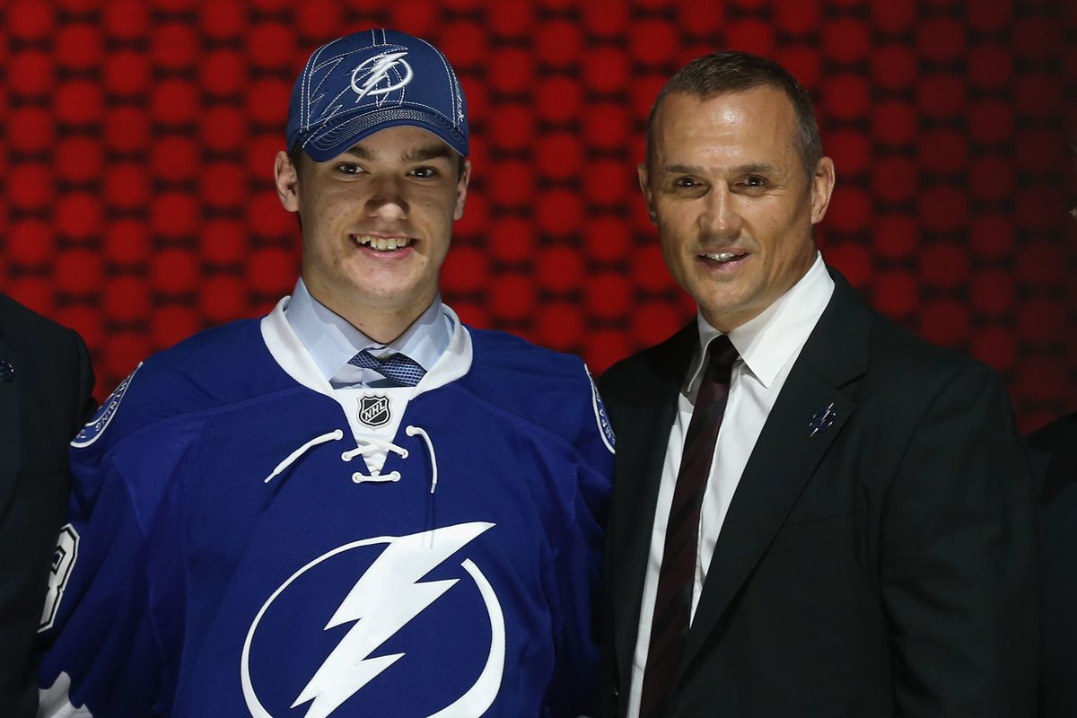 Jonathan Drouin and GM Steve Yzerman at the 2013 NHL Entry Draft in Newark, New Jersey.