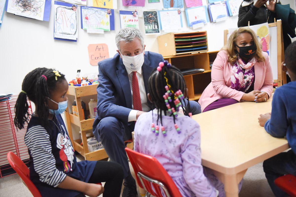 Mayor Bill de Blasio and Schools Chancellor Meisha Porter talk to students in Brooklyn. March 23, 2021.