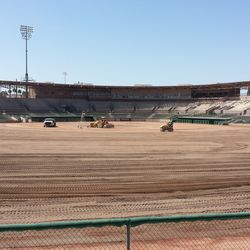 The field, now devoid of turf, from the LF berm