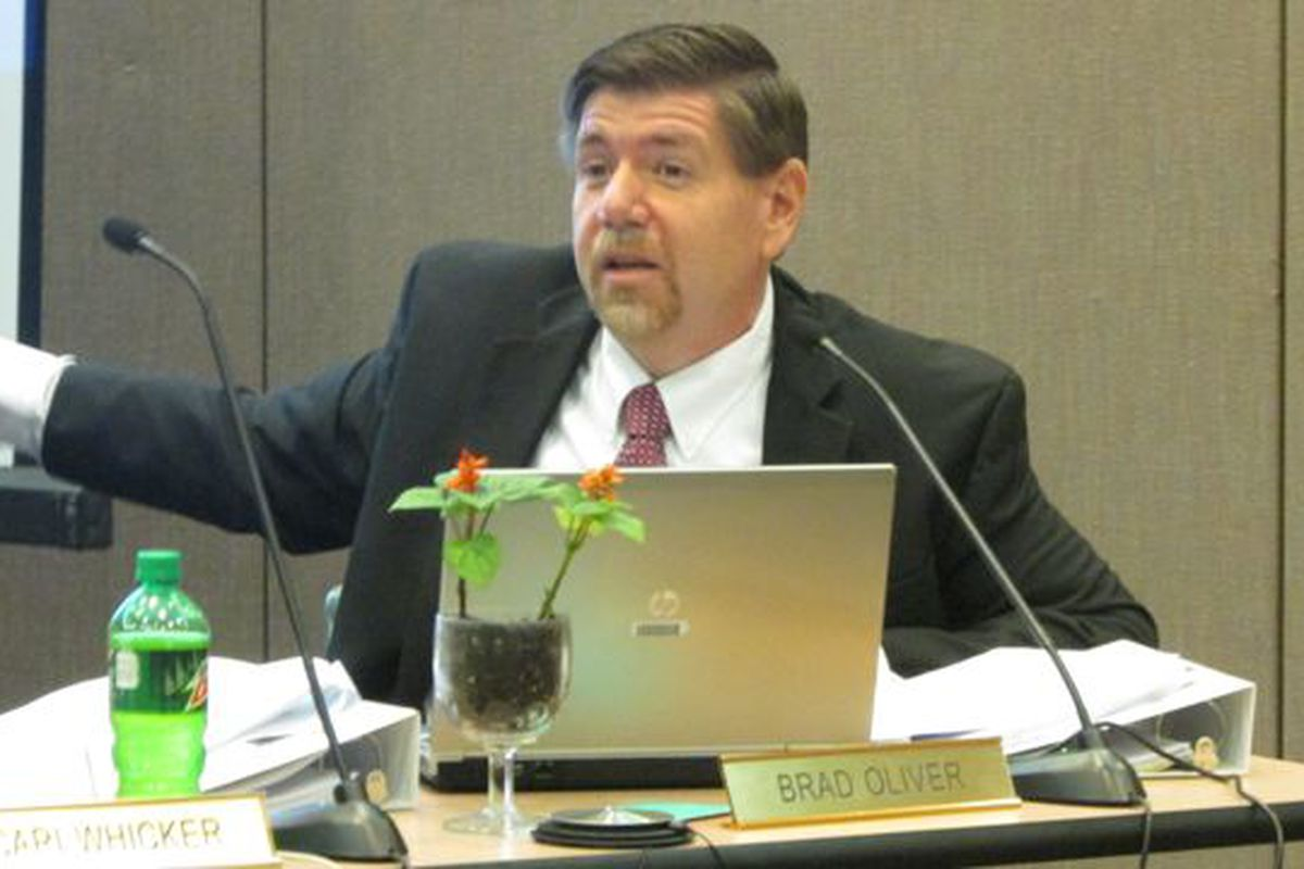 Indiana State Board member Brad Oliver, shown at a board meeting in May, testified for a bill that would shift authority away from the Indiana Department of Education