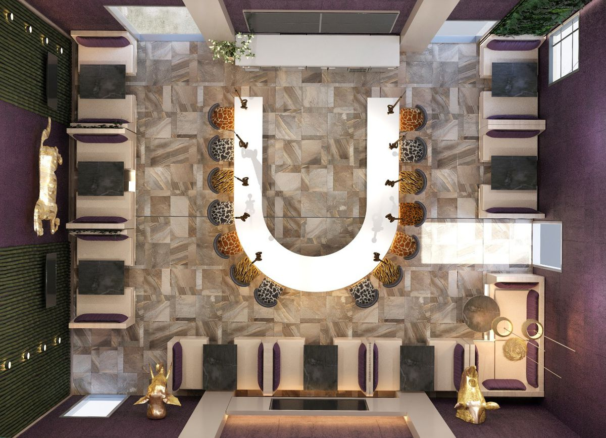 An above shot rendering of the u-shaped bar at Zoo Bar in Grant Park atlanta with leopard print seating surrounding the bar, a gold rhino head and gold elephant head on either side of the entrance and a gold carousel horse above the backbar