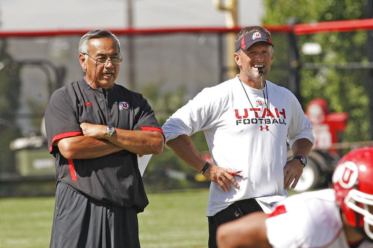 Coach Norm Chow and Kyle Whittingham  at the University of Utah football team practiceThursday, Aug. 18, 2011, in Salt Lake City, Utah.  (Tom Smart, Deseret News)