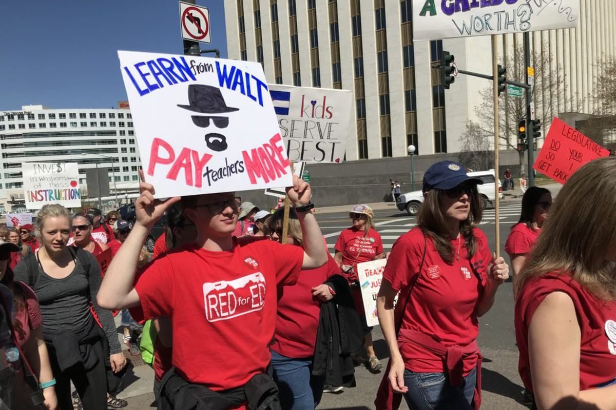 Colorado teachers rallied for more education funding on April 27, 2018.