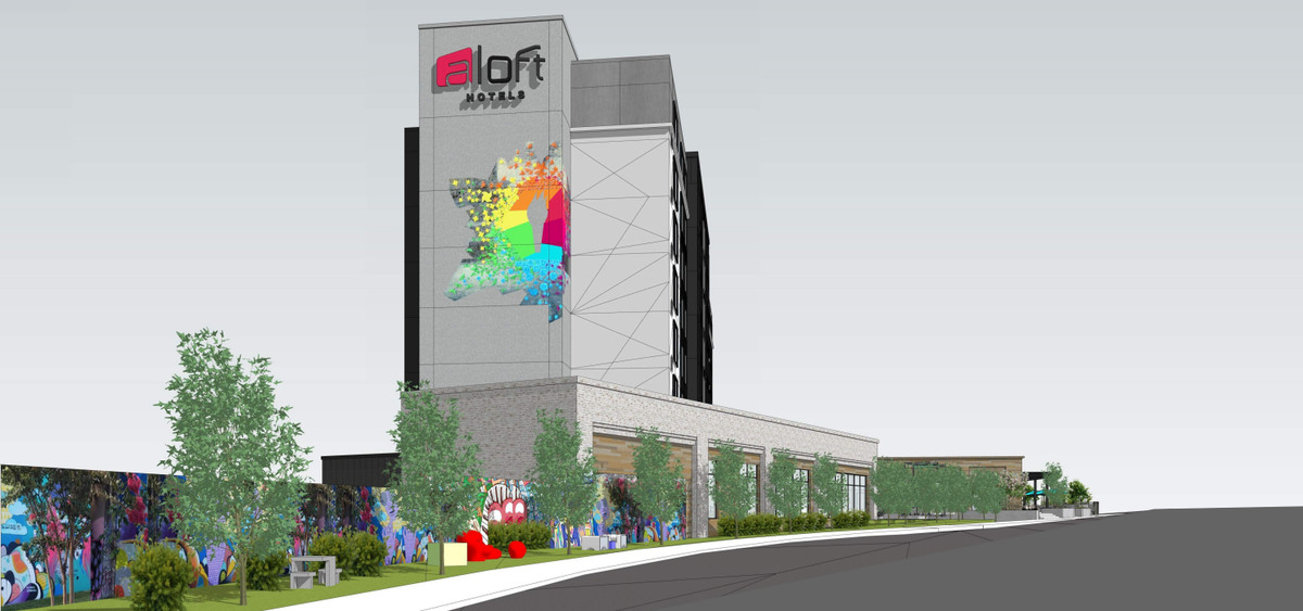 """Another rendering shows another view of the """"splash"""" of art on the stairwell."""