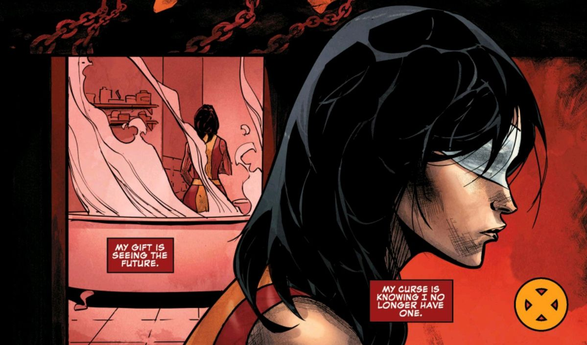 """""""My gift is seeing the future. My curse is knowing I no longer have one,"""" thinks the mutant Blindfold in Uncanny X-Men #11, Marvel Comics (2019)."""