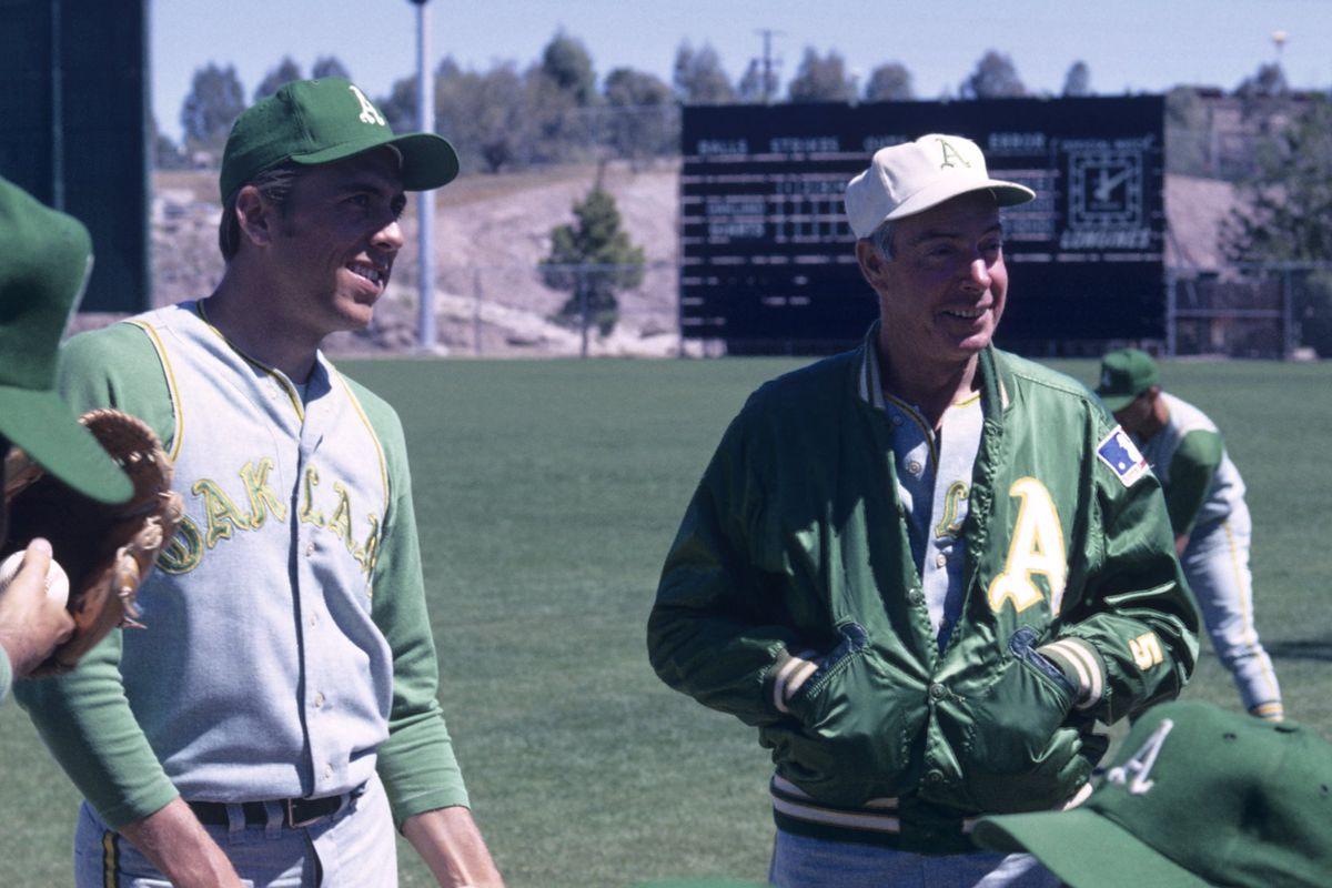 Rick Monday, with A's coach Joe DiMaggio in 1969.