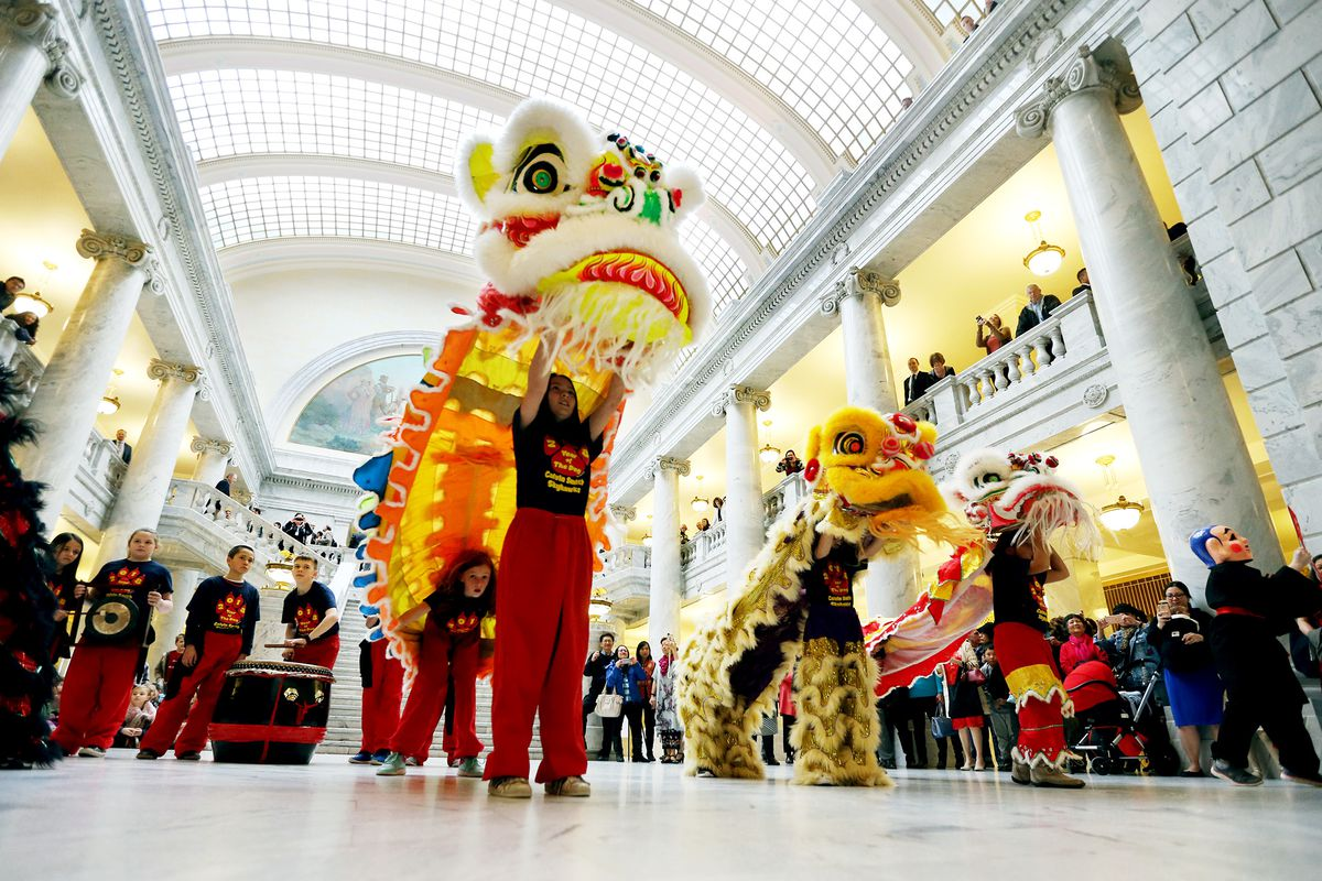 Students from Calvin Smith Elementary perform a Chinese lion dance in the state Capitol rotunda in Salt Lake City to commemorate the Lunar New Year on Monday, Feb. 12, 2018. Utah will host a number of events celebrating the Chinese New Year this weekend.