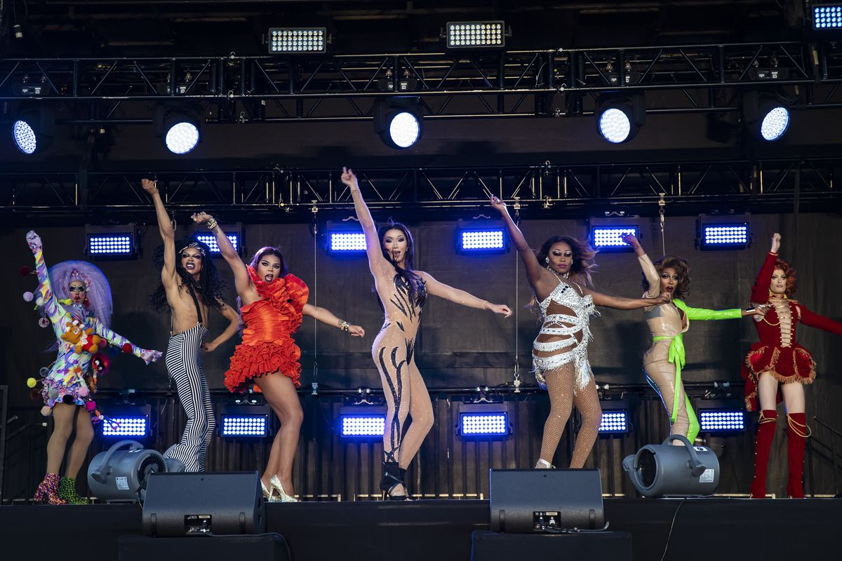 (From left) Crystal Methyd, Yvie Oddly, Vanessa Vanjie Mateo, Plastique Tiara, Asia O'Hara, Jaida Essence Hall and Gigi Goode perform together during Drive 'N Drag presented by Voss Events at Soldier Field, Friday night, Aug. 7, 2020.