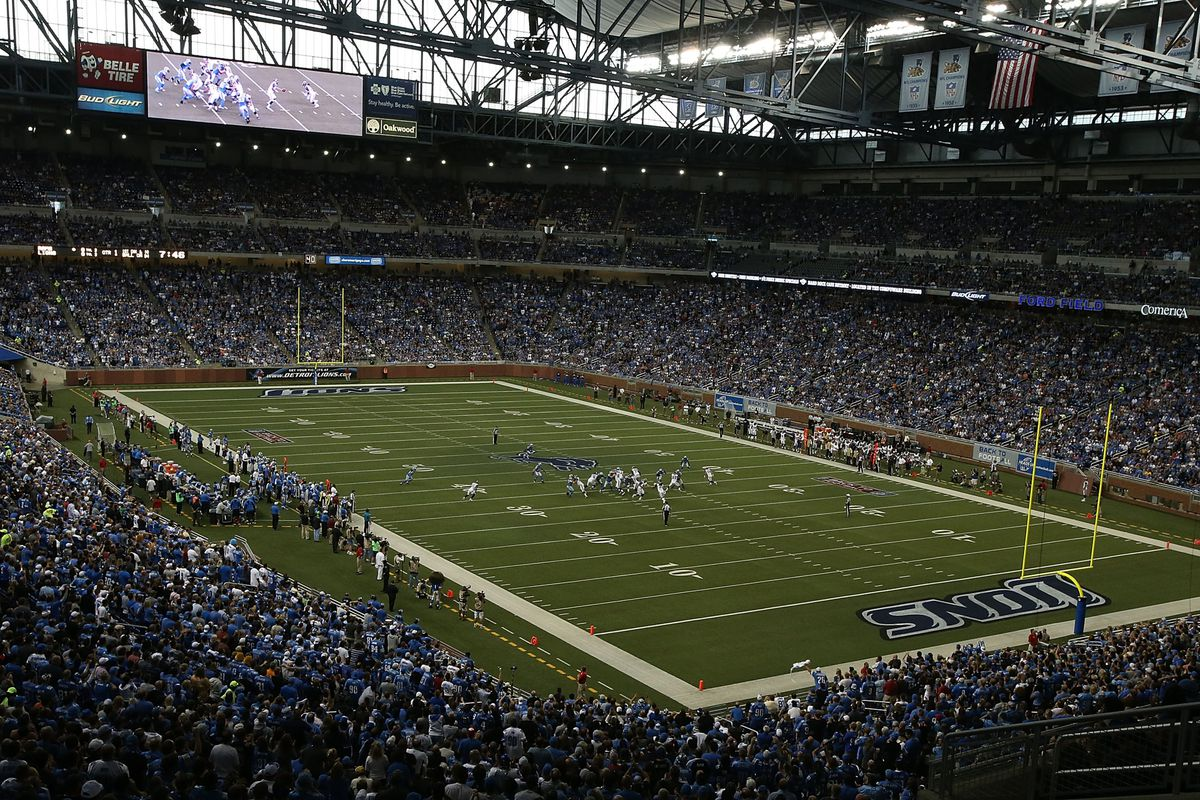 DETROIT, MI - SEPTEMBER 09: A detailed view of Ford Field during the game between the St. Louis Rams and the Detroit Lions on September 9, 2012 in Detroit, Michigan. The Lions defeated the Rams 27-23.  (Photo by Leon Halip/Getty Images)